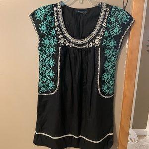 THEME Embroidered Black Midi Dress-Sm